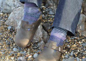 Purple and Blue Striped Socks