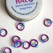 Atomic Knitting Violet Halo Stitch Markers with Tin