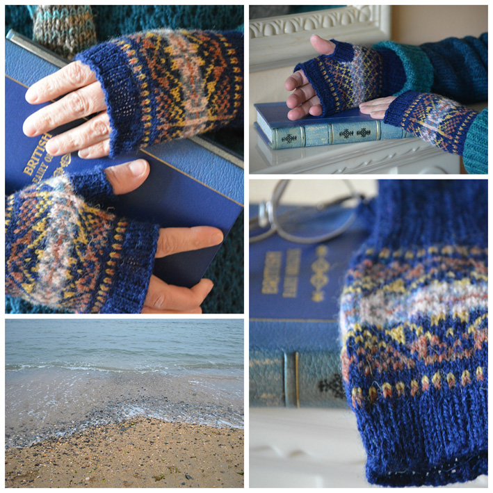 Blue Fair Isle Fingerless Mitts