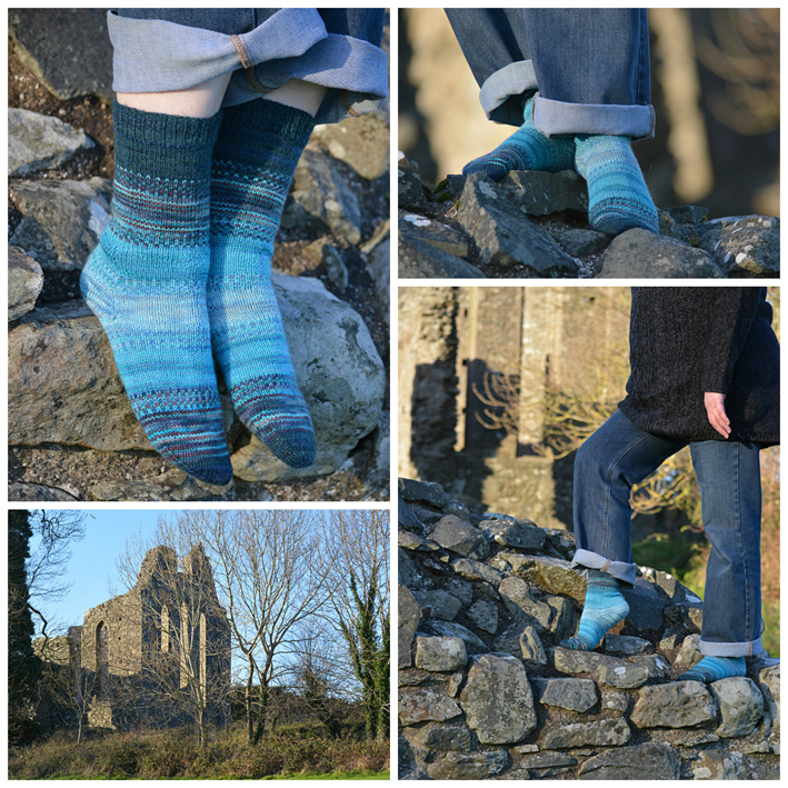 Blue Fair Isle Leftovers Socks