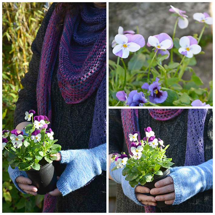 Fingerless Mittens with Pansies