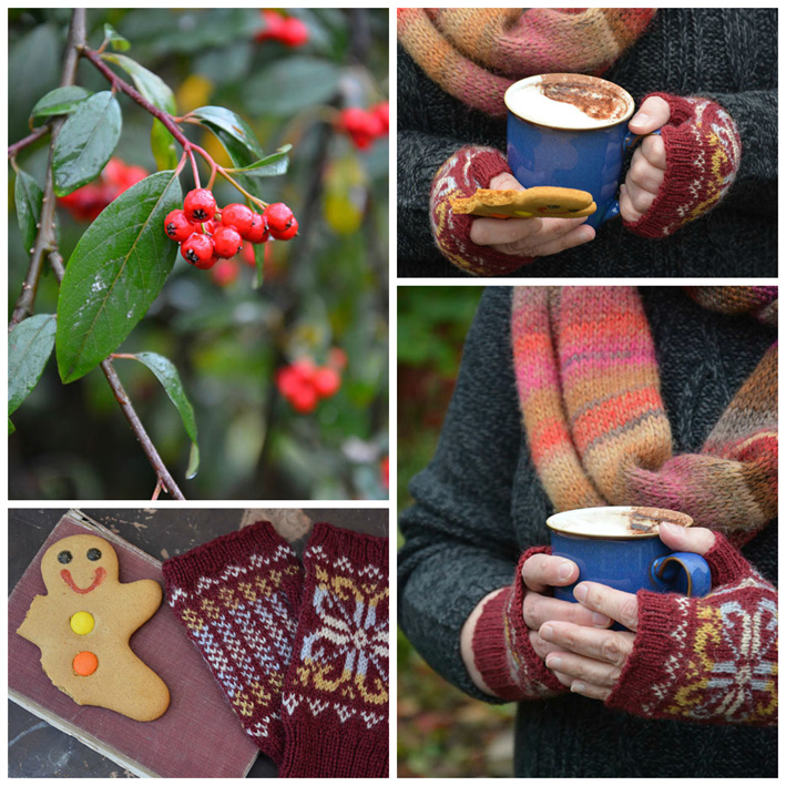 Red Fair Isle Fingerless Mitts - Knitting Squirrel