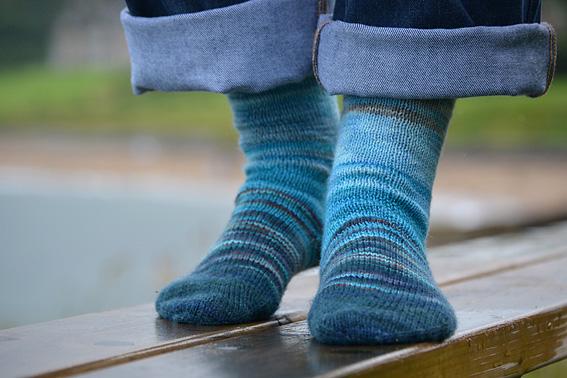 Sea Blues Leftover Sock Yarn Socks