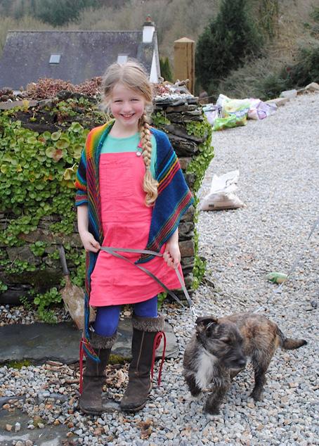 Tara wearing her Chadwick Shawl