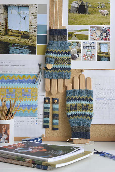 A Shetland Colour Story Crofthoose Fingerless Gloves