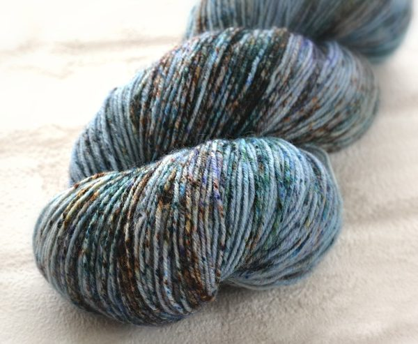 Dappled Denim Hand Dyed Opal Sock Yarn