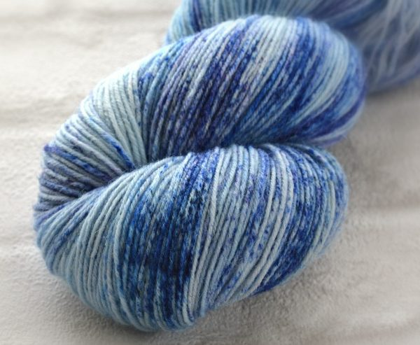 Freckled Cornflower Hand Dyed Opal Sock Yarn