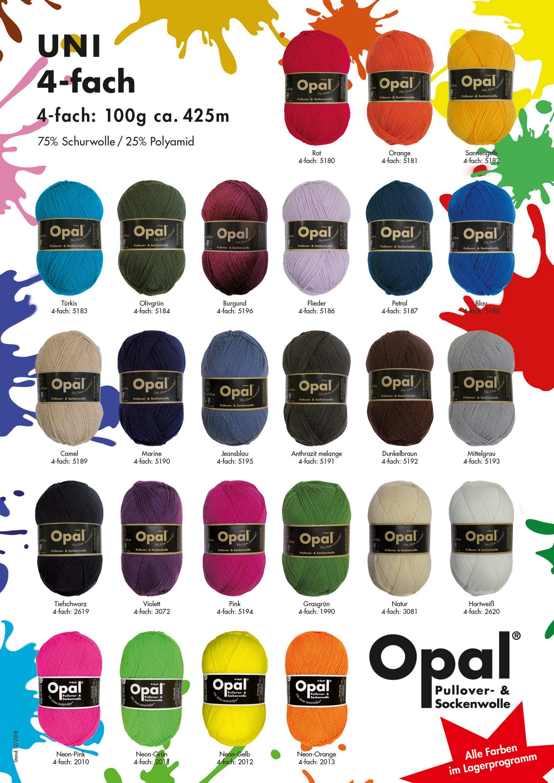 """+ pattern Black 2619 Opal /""""Uni/"""" Solid Sock Yarn"""
